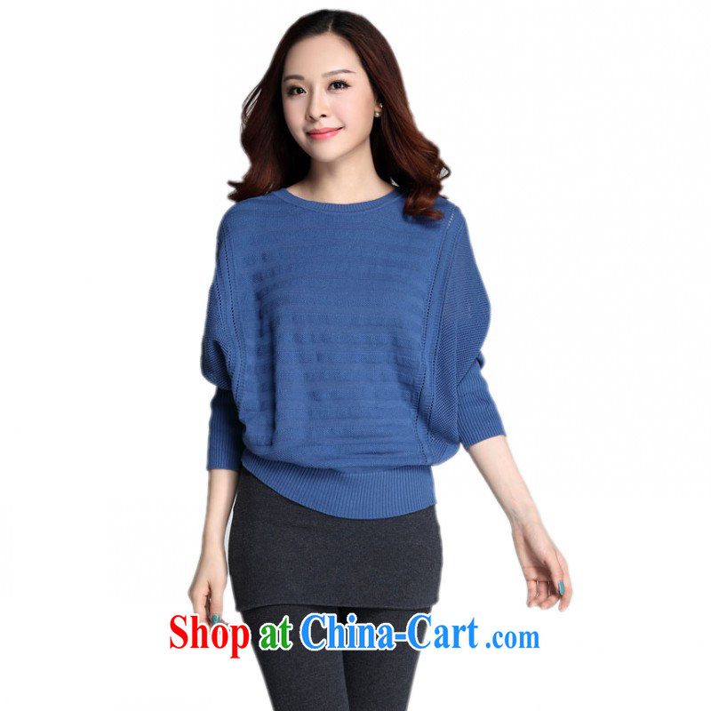 The delivery package as soon as possible by the obesity mm knitted T-shirt American style liberal, bat sleeves Knitting Garment XL T shirt graphics thin sweater OL elegant blue XL approximately 125 - 145 jack