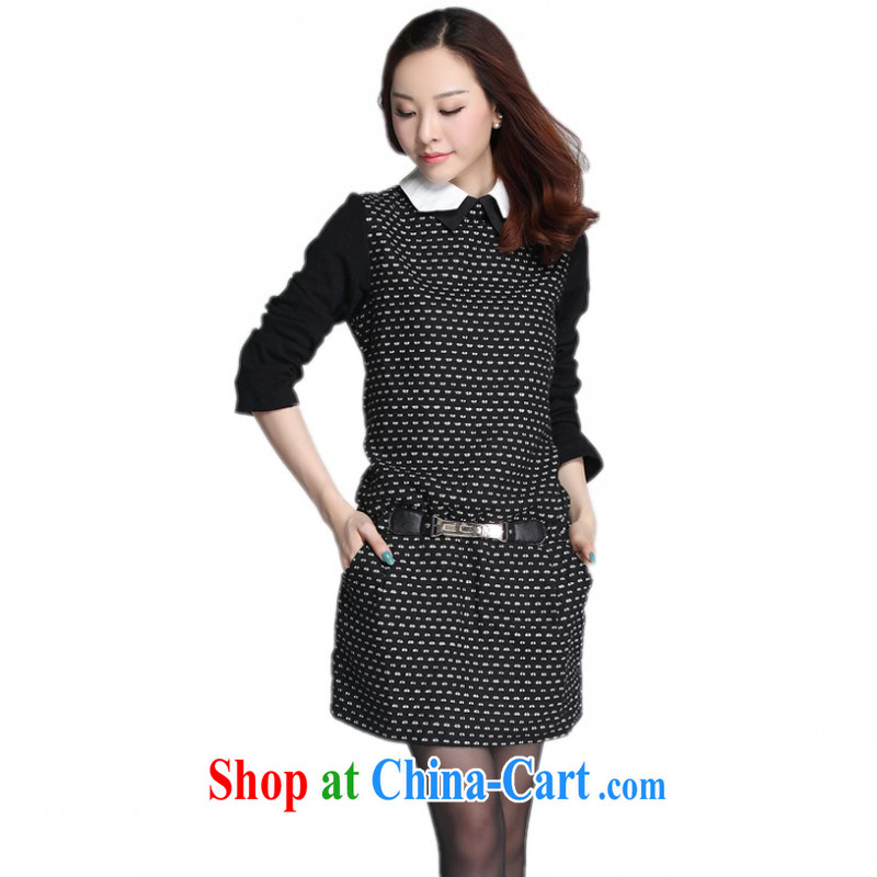 The delivery package mail as soon as possible, focusing on women's clothing dresses fall 2014 with Korean OL temperament rough tweed long-sleeved knit short skirt XL lady, white 4 XL approximately 175 - 185 jack