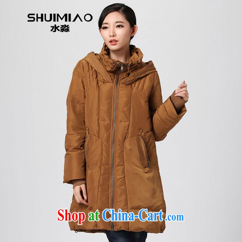 Water of winter 2014 new Korean version jacket girls in long, thick larger cap-waist hidden meat DO 2516 Kwai Yuen Wong XL