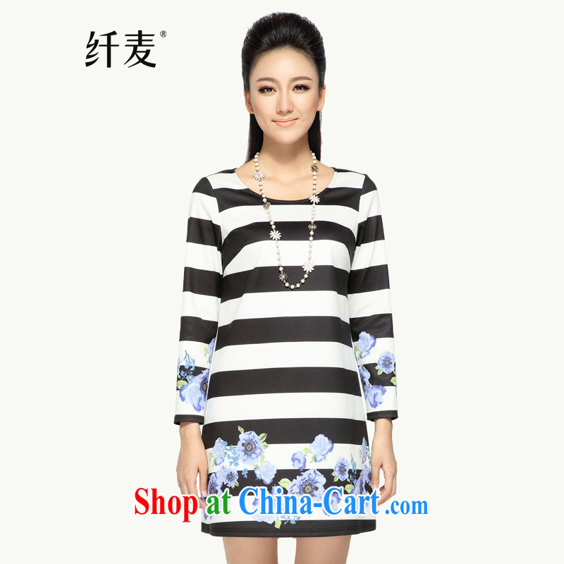 Slim, Mr Big, women fall 2014 with thick mm wind streaks parquet dresses 43,375 black-and-white stripes 6 XL