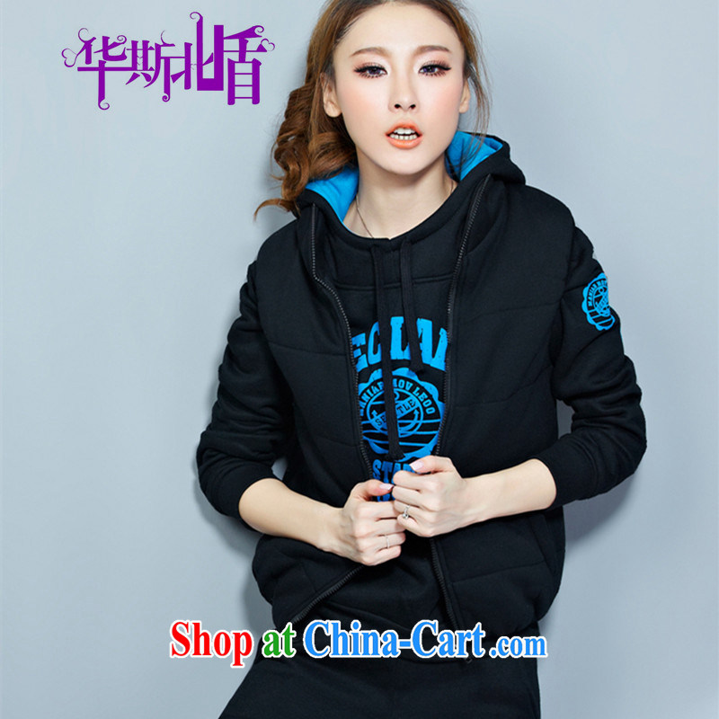 2014 Korean autumn and winter, Ms. Yi 3 piece set with the lint-free cloth, Sport Kits thick Leisure package Black blue XXXXL