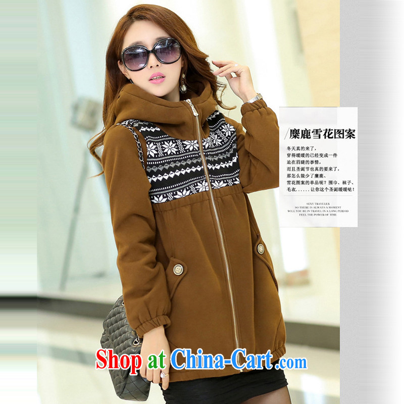 Ms. Cecilia Clinton's large, female 2014 new mm thick winter jackets and fat and loose 200 jack cap thick sweater jacket long Korean brown 6 XL, Cecilia Medina Quiroga (celia Dayton), the Code women's clothing, and shopping on the Internet