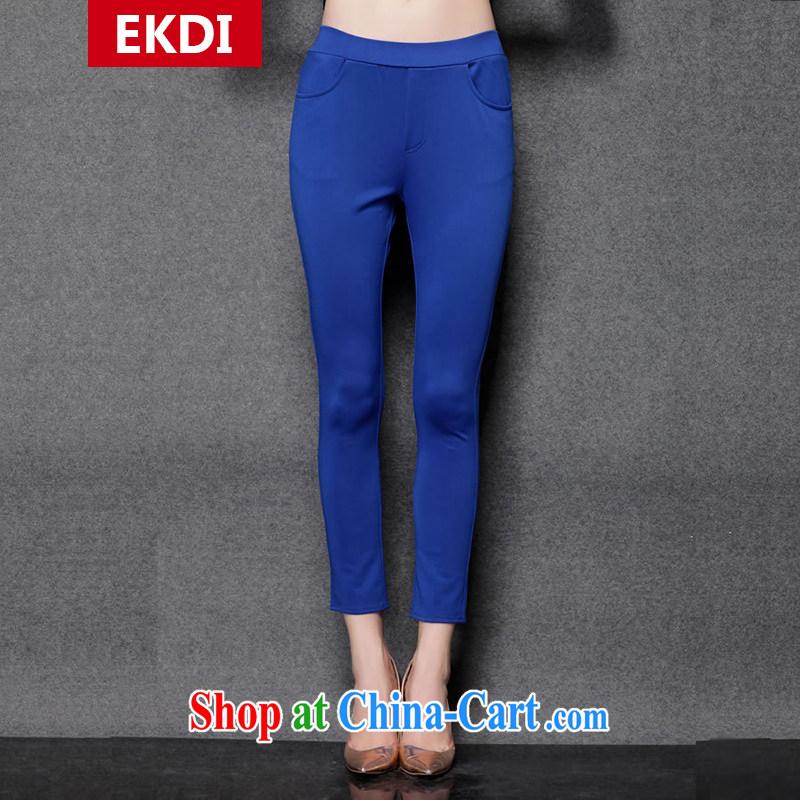 The silk, honey King, women's clothing thick MM graphics thin autumn decoration, pencil pants ZZ 1535 blue XL _126 jack - 138 Jack through_