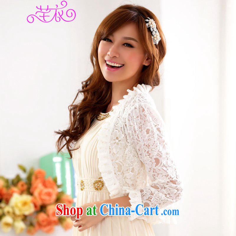 Constitution and clothing increased, fertilizer, blouses new season 4 100 a knitting lace jacket thick mm sweet Openwork network dress shawl small jacket cardigan white 2XL 135 - 155 jack