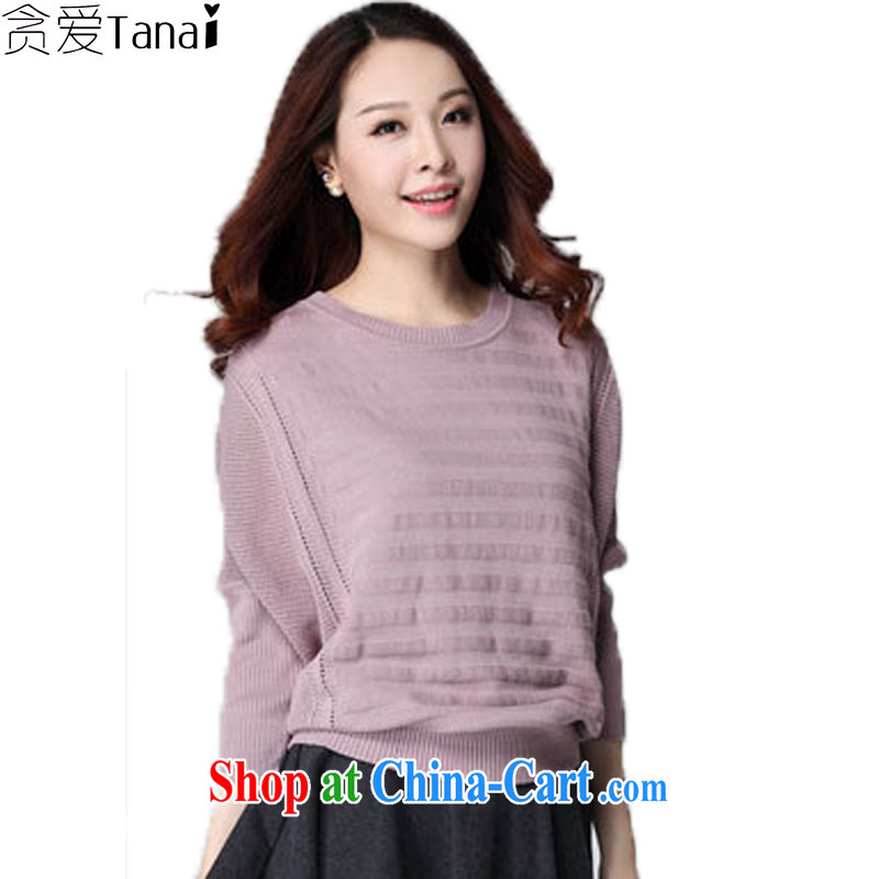 Loved autumn and winter clothing Korean leisure centers, and indeed increase, female bat long-sleeved knit shirts female solid loose sweater 3590 dark pink XXXL