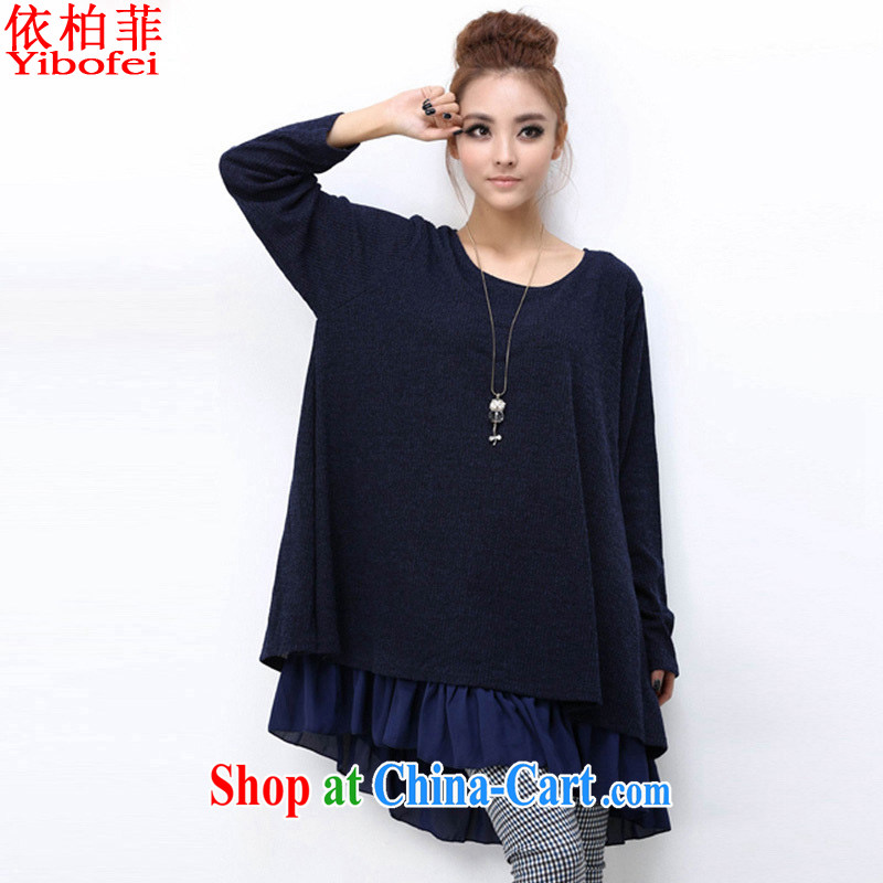 According to Queen Elizabeth , 2014 autumn and winter new thick MM and indeed increase, female temperament bowtie loose video thin dresses female Y 157 dark blue 4 XL
