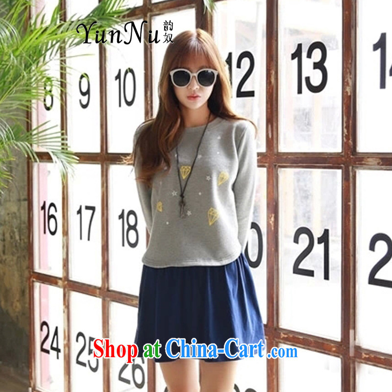 The slave spring 2015 new women's clothing stylish Korean liberal College, long-sleeved-Sweater Vest two-piece large, female Kit SL1939 gray XXXXL