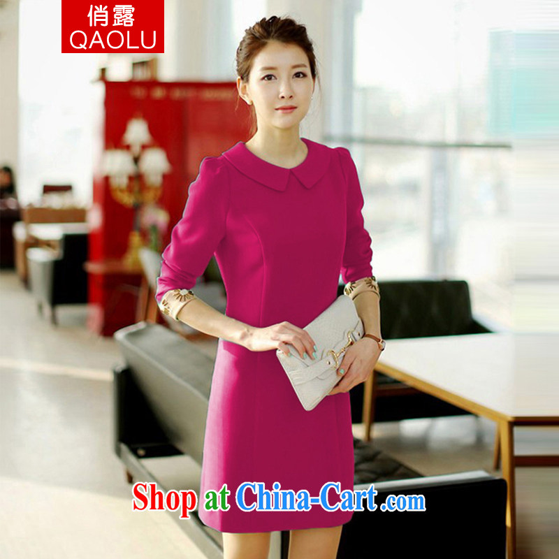 To terrace 2014 autumn and winter, female fashion doll for cultivating high-waist career temperament long-sleeved larger dresses of 241 red XXXL