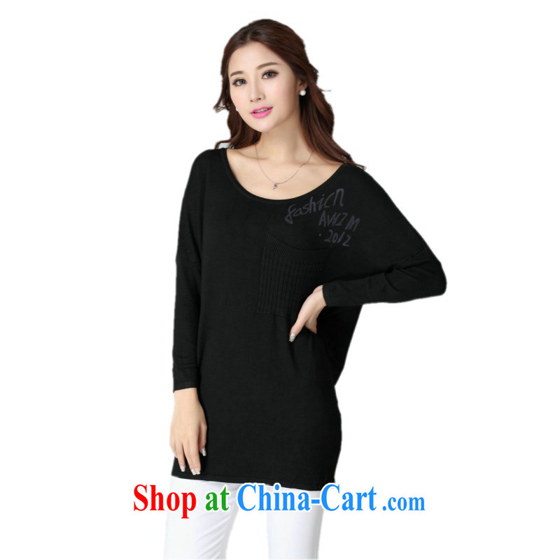 The delivery package as soon as possible e-mail autumn 2014 the Korean edition bat long-sleeved knit shirts and ventricular hypertrophy, knitted sweaters, gown simple leisure video thin short black are code about 130 - 190 jack