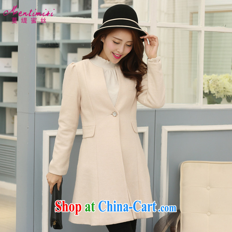 Mephidross has long honey, and indeed increase, women with thick mm autumn and winter 2014 installed new one piece snap-in, long-sleeved no collar hair? 5035 jacket of the color code 5 XL