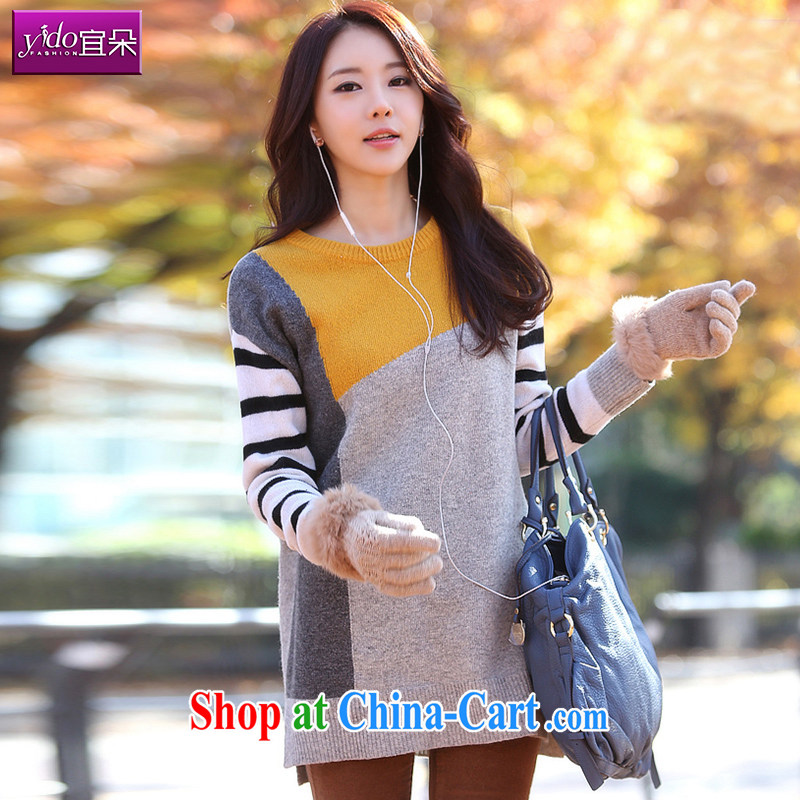 2014 autumn and winter, the girl with the long, Korean edition loose long-sleeved sweater girls head round-collar knit sweater jacket thick stitching yellow and gray