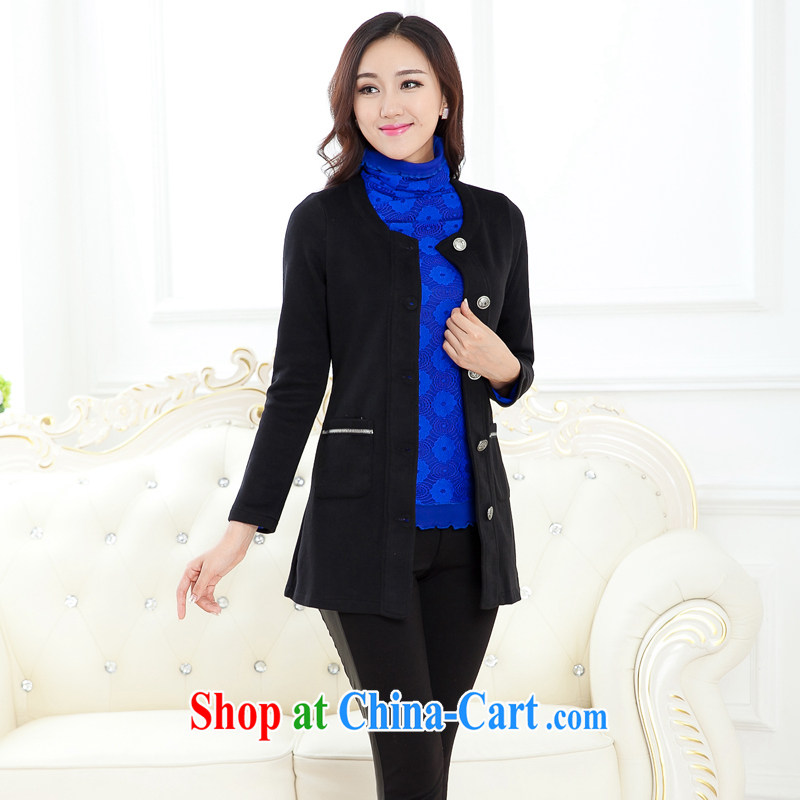 Increase the fat XL female thick mm 2015 new autumn loaded thick mm 200 Jack knitted shirts cardigan long graphics thin coat black 2XL recommendations 140 - 160