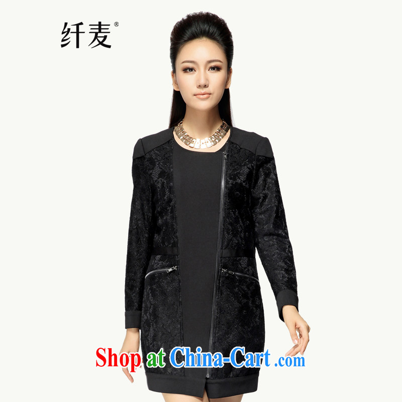 Slim, Mr Big, women fall 2014 with new thick mm lace stitching coat 43,321 black M