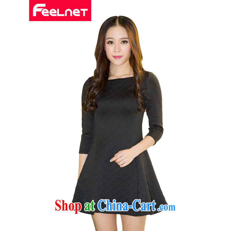 Feelnet 2015 spring and summer new thick mm female Korean literature in Europe and the Code female graphics thin dress 1487 black large code 6 XL