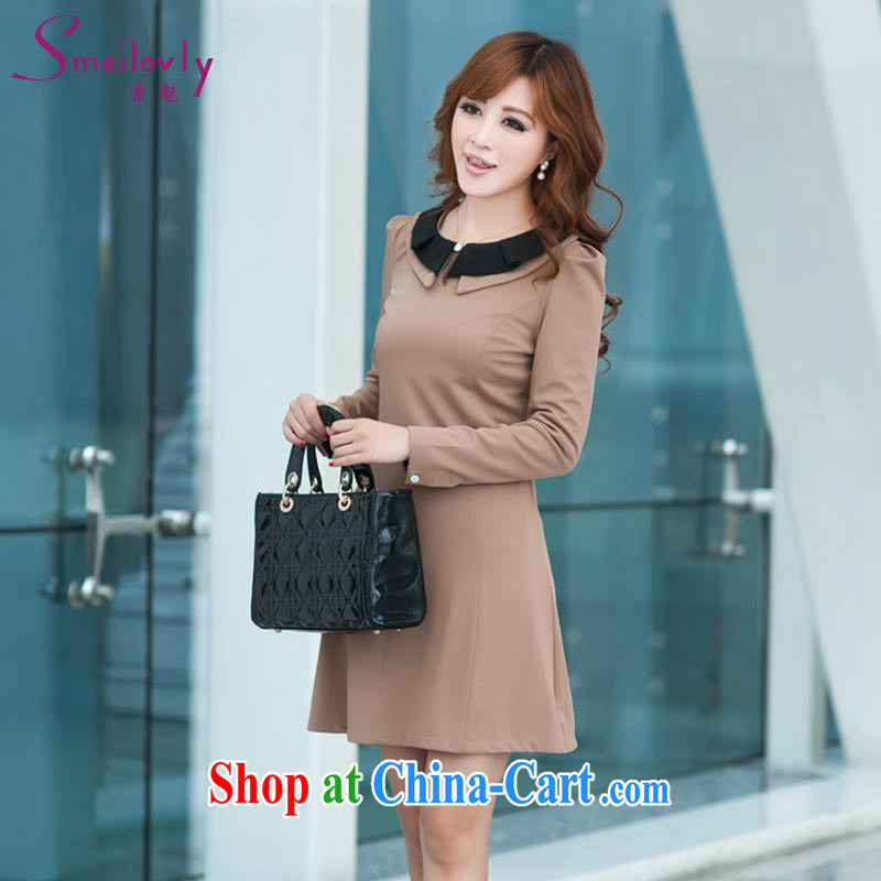 Staff of the fertilizer XL women mm thick spring loaded 2014 new dolls for thick sister graphics thin long-sleeved dresses 526 card the color 3 XL