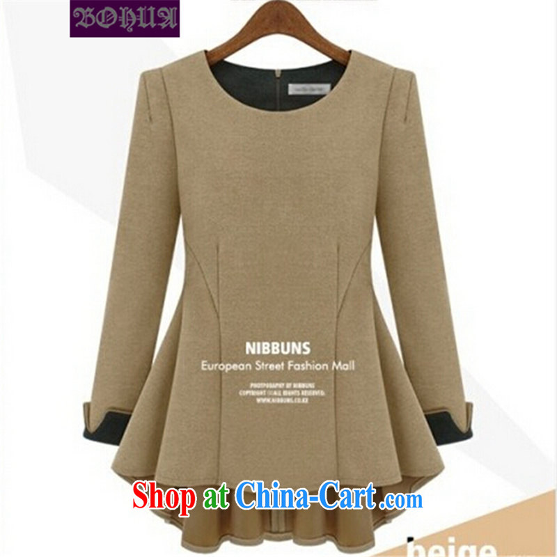 Hua 2015 new larger female autumn is long-sleeved large code t-shirt thick mm loose video thin increase the fat solid T-shirt of the color code 5 XL