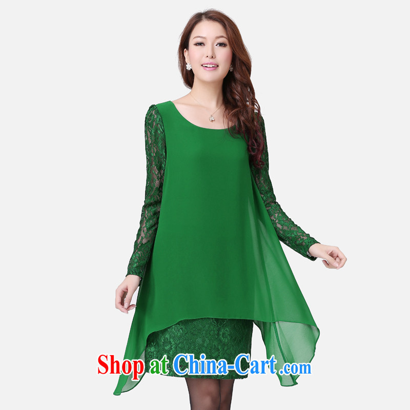 Cloud the larger female 2015 spring loose skirt thick MM long Graphics thin lace spell series dress green 5 XL