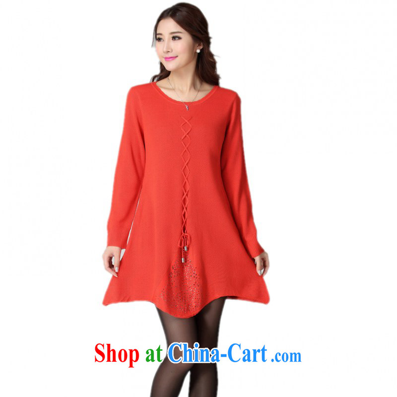 The delivery package as soon as possible e-mail fall 2014 winter clothing knitted dresses simplicity and lady aura long-sleeved tie sweater skirt A with solid short skirt orange color codes are about 130 - 190 jack