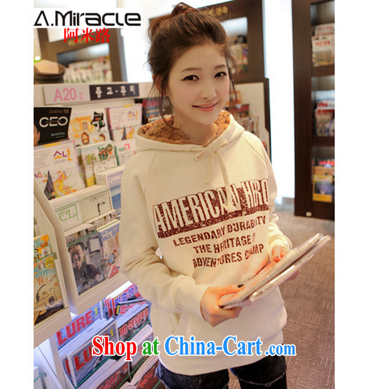 The M-winter new Korean female double-cap letters and lint-free cloth thicken the Code women clothing, female white M
