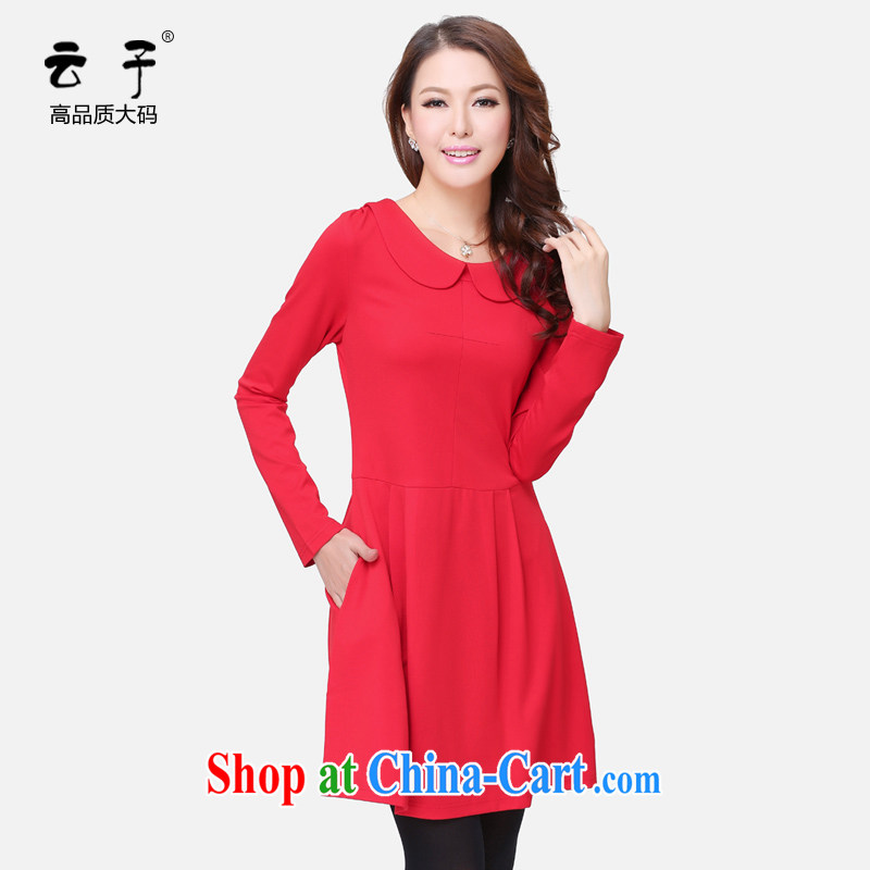 Cloud the larger women fall 2014 new aura, dolls for solid skirt thick MM cultivating graphics thin dresses red 5 XL