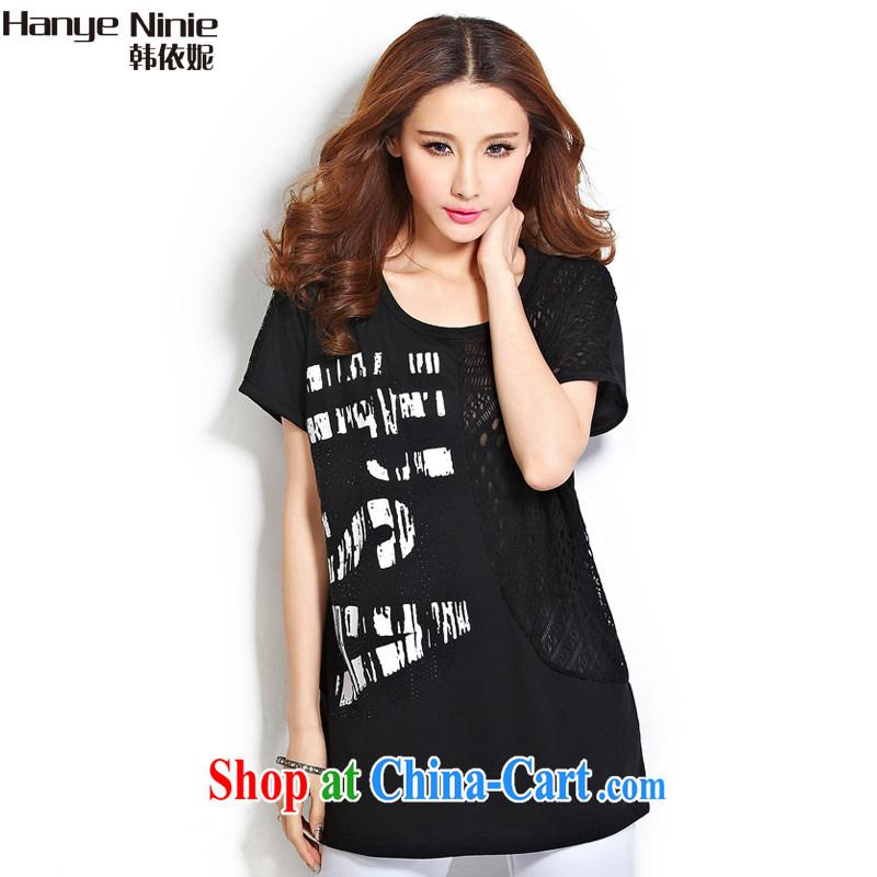 In accordance with South Korea Connie 2015 female new summer maximum code female loose video thin, long, short-sleeved T-shirt women 1175 black XXXL