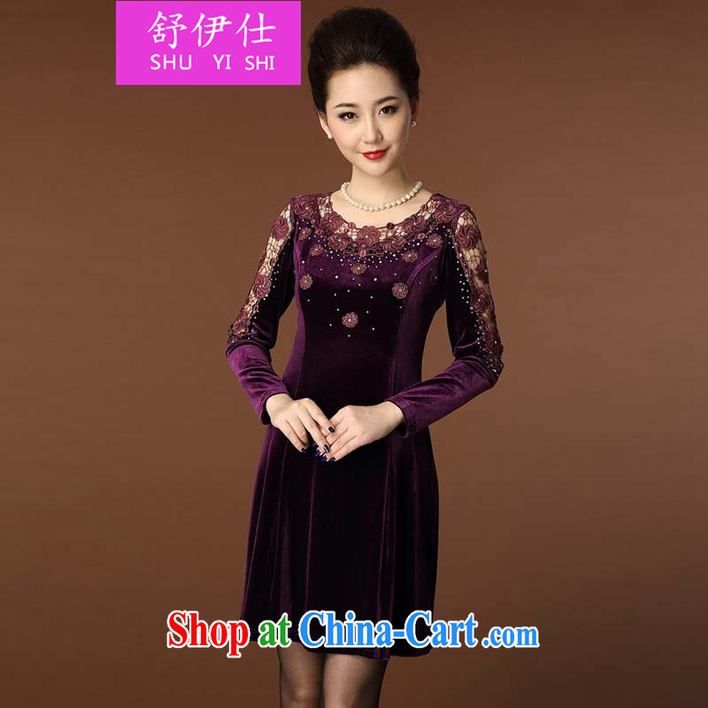 Shu, Shi-European site big-new dress code the lace gold velour dresses wedding mom with elegant and noble elegant ladies skirt style dress purple XXXXL