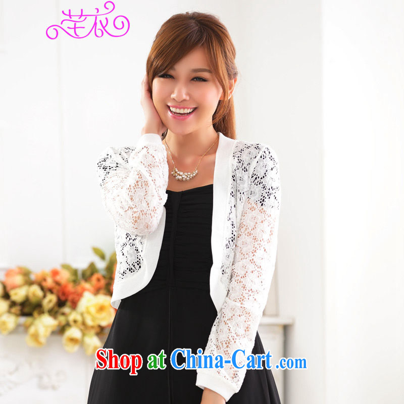 Constitution and clothing increased, indeed, women 2015 new mm thick quarter 4 100 A lace jacket languages empty Web flower dress shawl long-sleeved knitted small jacket cardigan white 4XL 180 - 200 jack