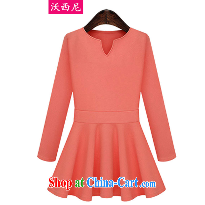 Kosovo, Western Europe and North America 2014 the Code women fall and winter new thick mm beauty small V for solid-colored long-sleeved dresses and large skirts 1457 red-orange XXXXXL