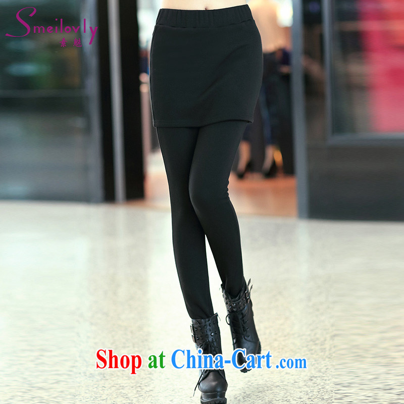 Director of XL girls with thick mm 2014 new the lint-free cloth, solid wearing trousers trousers package and graphics skinny leg pants and skirts fall and winter 9037 S black 5 XL _lint-free_