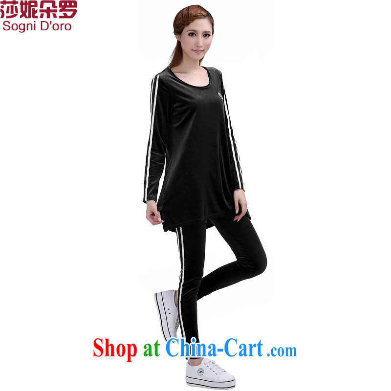 Laurie, flowers in Europe and America 2014 XL package girls thick MM autumn winter new gold velour leisure video thin uniforms Kit 6364 black 4XL