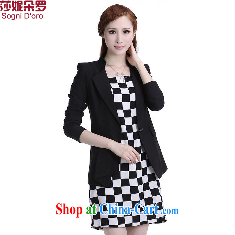 Laurie flowers, thick woman, women's coats thick mm spring loaded and the fat suit Korean video skinny suits women 6333 black 4XL - Black, pre-sale 7 day shipping