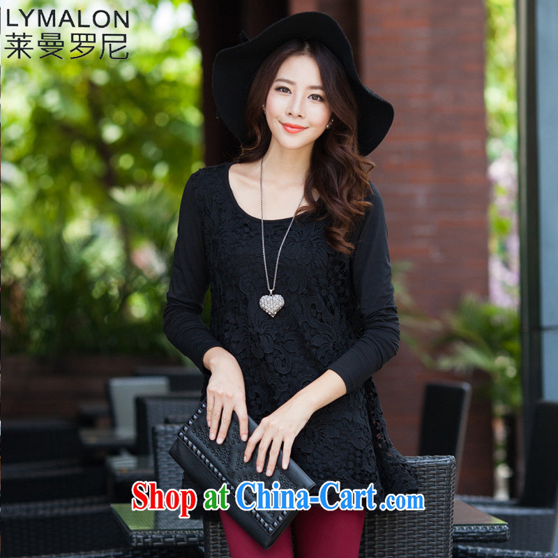 Lehman Ronnie lymalon fat people graphics thin spring 2015 new Korean version the Code women spend check Openwork lace long-sleeved T-shirt solid black 8878 XXXXL