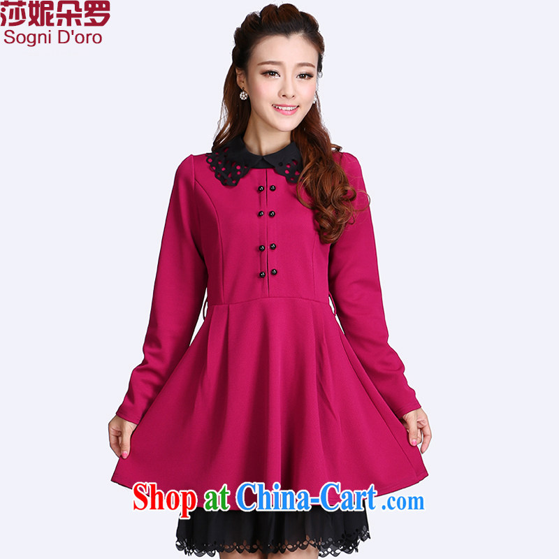 mm on the ventricular hypertrophy, girls with early autumn 2014 New Kit Korean edition dolls for long-sleeved dresses video thin 8711 red 4 XL