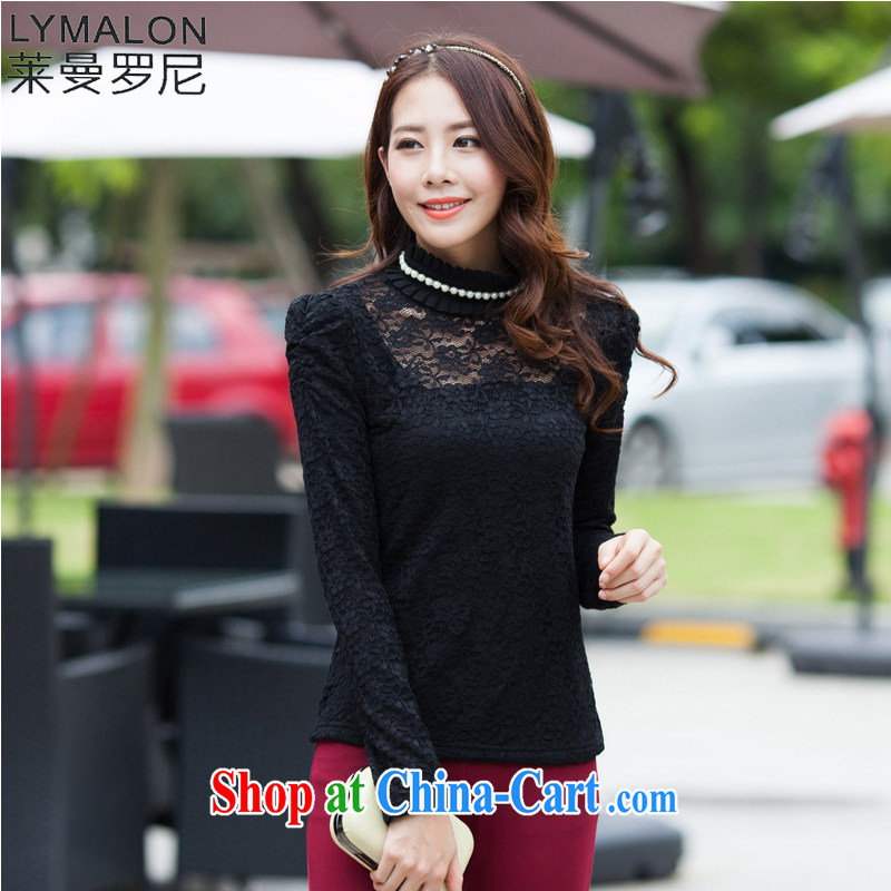 Lehman Ronnie lymalon autumn 2015 new Korean version of the greater code female high collar check take mine, warm and lint-free cloth solid long-sleeved T-shirt 9676 black XXXXL