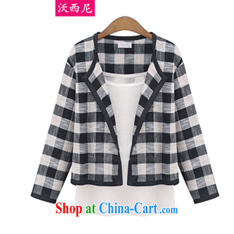 Kosovo, Western Europe and North America 2014 the Code women fall/winter new emphasis on 100 mm ground units the tartan spell color cardigan short, small fresh leisure jacket 1450 black XXXXXL