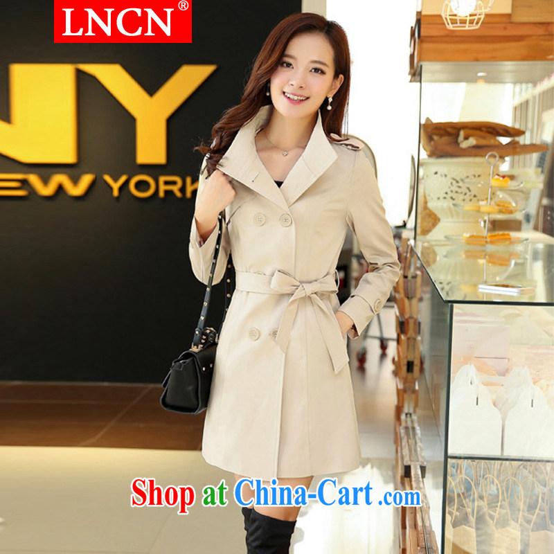 LNCN 2015 spring new XL Korean version in cultivating long lapel wind jacket women jacket beige 4 XL