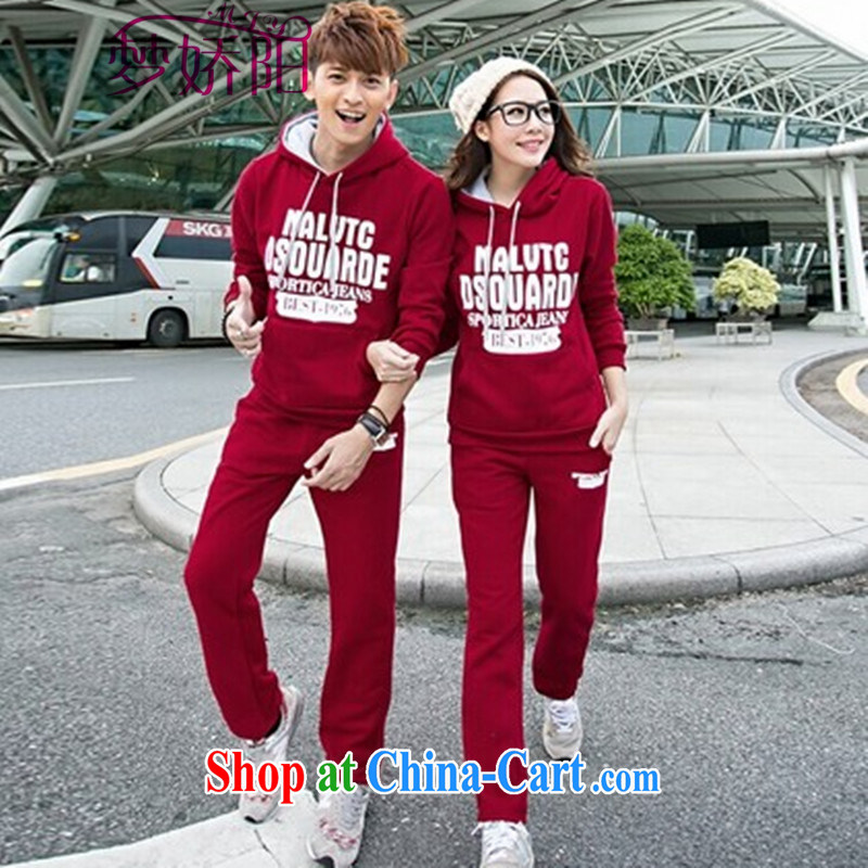 Spring and Autumn and Winter Sports Package couples casual clothes men and women Long Hoody-sweater Kit wine red male XXL