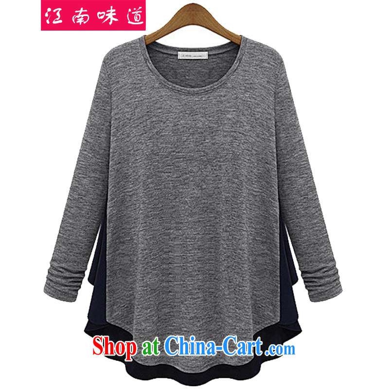 Gangnam-gu taste great, female solid T-shirt T-shirt woman shirt thick MM 2014 new long-sleeved T shirt 902 light gray 5 XL