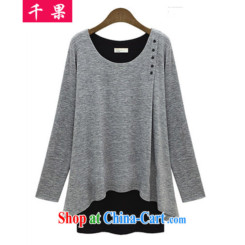 1000 fruit 2015 spring new European Women loose the code long-sleeved leave of two pieces of knitted T-shirt thick sister large T-shirt loose video thin leave two solid T-shirt light gray XXXXXL