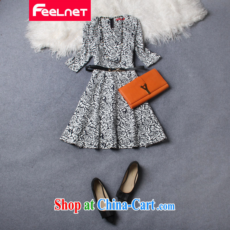 Feelnet dresses skirts thick mm summer spring new 2015 Korean literature in Europe and the Code female graphics thin dresses 2192 yellow large code 5 XL