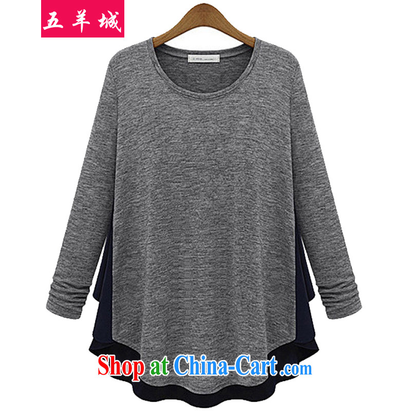 Five Rams City thick sister Korean version and replace the fat XL female 2015 cotton casual relaxed solid T-shirt fat people video thin, long-sleeved T-shirt 902 light gray 902 XXXL