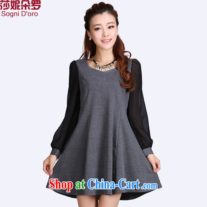 Laurie flower, Autumn 2014 women mm thick XL Korean snow woven cuff stitching graphics thin dresses 6609 gray 4 XL