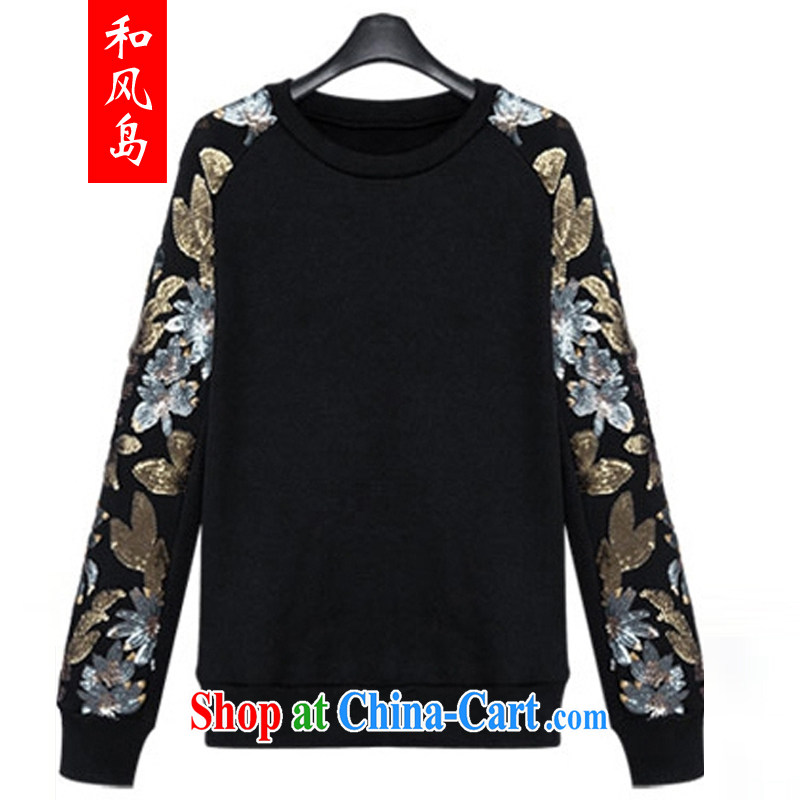 and wind Island autumn 2014 with the United States and Europe, female 100 solid ground T-shirt parquet, T shirt with round collar sweater girl T-shirt 98,162 black L