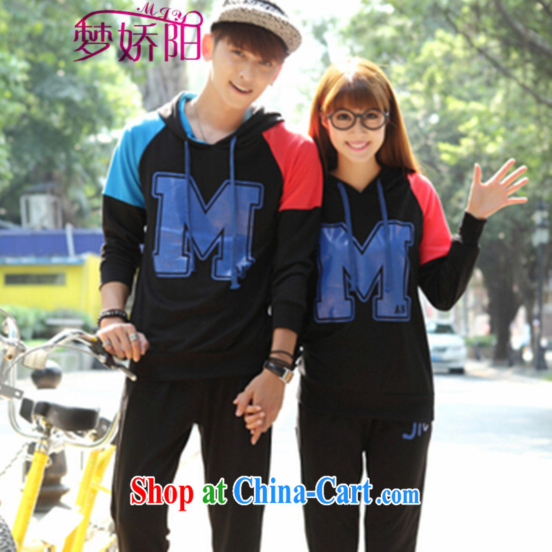 Autumn is new, popular, Korean Version Stamp long-sleeved sweater sports couples package Class Service black T-shirt + pants XXL