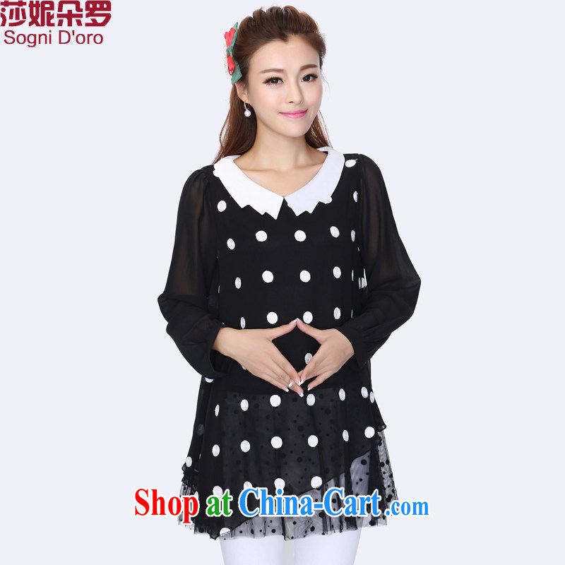 Laurie flower, the Code women mm thick autumn is new, 2014 leave two snow woven dot pattern shirt 8739 black 4XL