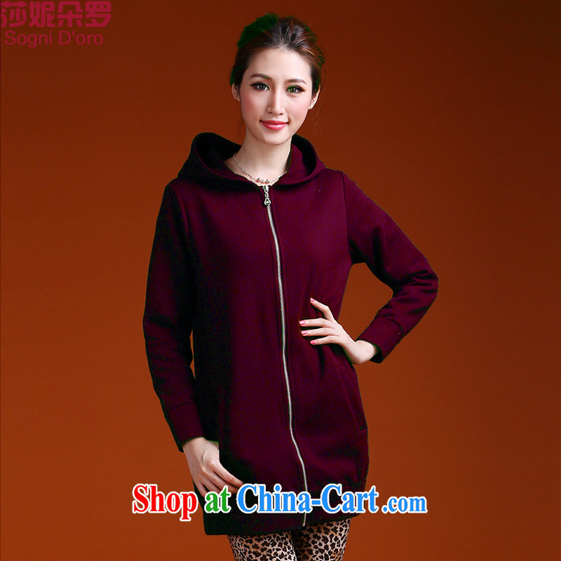 Laurie flower, the Code women fall 2014 winter clothing thick sports zipper cap sweater girl jacket long 9952 wine red 4 XL