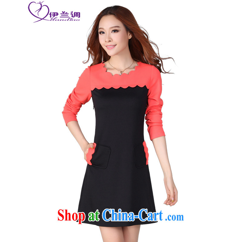 The LAN-indeed, XL girls dresses thick sister 2015 spring new Korean Hit-color tile beauty video tall even long-sleeved clothing and skirt black 4XL 150 - 165 jack