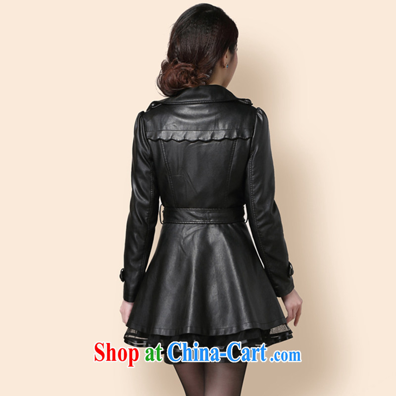 Beautiful believers 2015 girls spring loaded spring loaded new jacket, large, female PU leather jacket, long, spring and autumn wind jacket coat black 6XL, beautiful believers, shopping on the Internet