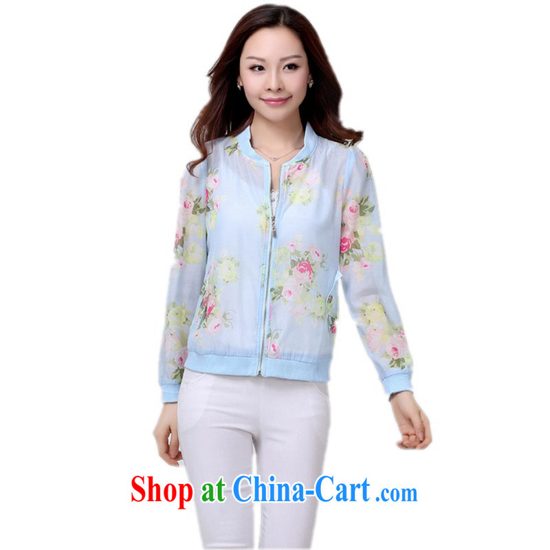 Land is still the Yi to the payment the ventricular hypertrophy, Chu Yi jacket thick mm stylish stamp transparent long-sleeved cardigan thin air conditioning shirt sunscreen Cape autumn jacket blue 2 XL 140 - 160 jack