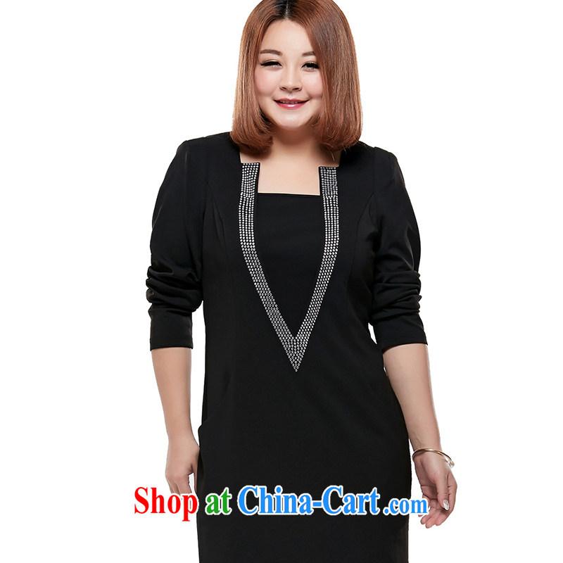 XL long-sleeved dresses Korean Edition Black 6 XL